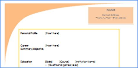 Curriculum vitae sample for students template